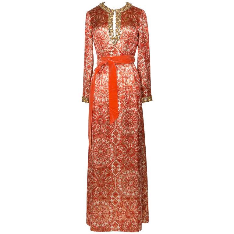1966/67 Christian Dior Sparkling Broché Orange Dress 1