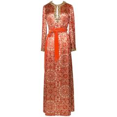 1966/67 Christian Dior Sparkling Broché Orange Dress