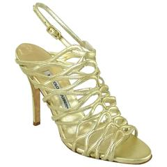 Manolo Blahnik Gold Leather Caged Heels - 37