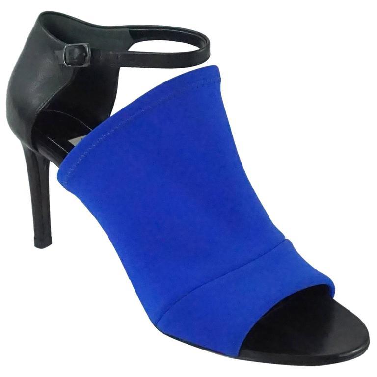 de319eadc Balenciaga Black and Electric Blue Neoprene Glove Sandal - 36.5 For ...