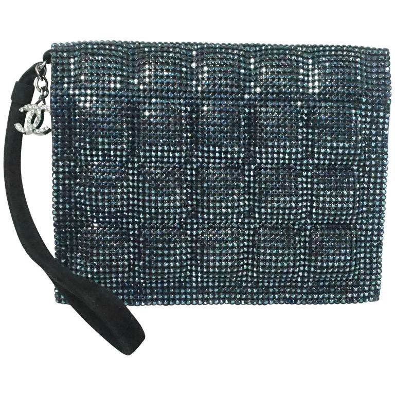 Chanel Blue Rhinestone Quilted Wristlet and Clutch - 12C - NWT
