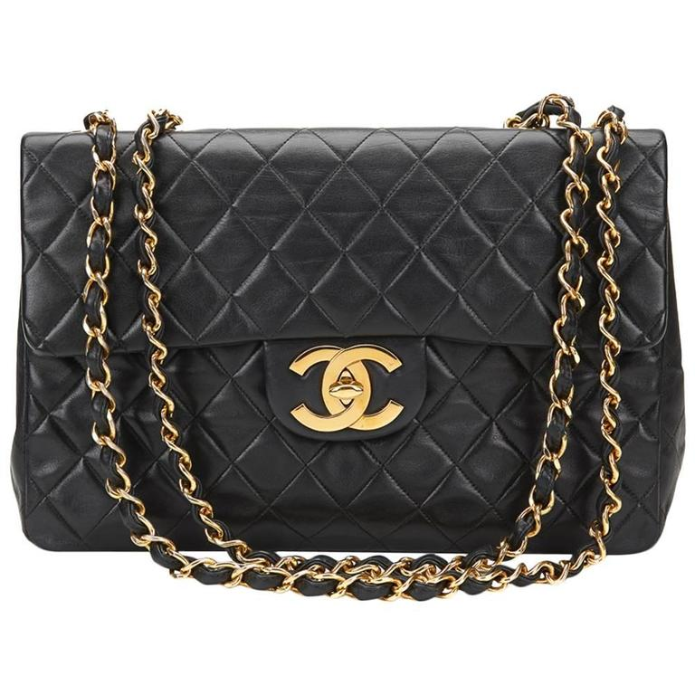 1994 Chanel Black Quilted Lambskin Vintage Maxi Jumbo XL Flap Bag