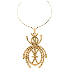 KENNETH JAY LANE c.1960's Gold Egyptian Scarab Large Statement Pendant Necklace