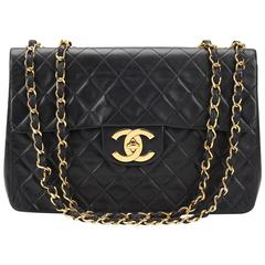Chanel Black Quilted Lambskin Vintage Maxi Jumbo XL Flap Bag, 1990s 55ce66462bc