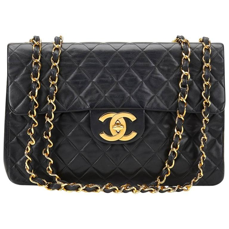 Circa 1994 Chanel Black Quilted Lambskin Vintage Maxi Jumbo XL Flap Bag  For Sale