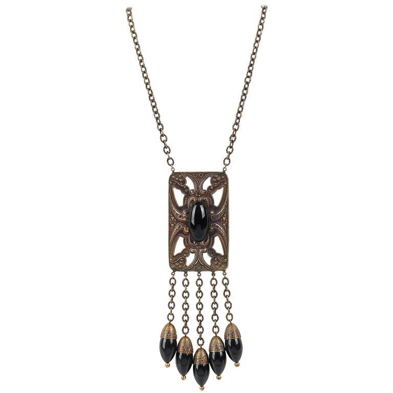 ART DECO c.1920's Bronze Black Onyx Large Pendant Bead Dangles Chain Necklace 1