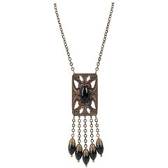 ART DECO c.1920's Bronze Black Onyx Large Pendant Bead Dangles Chain Necklace