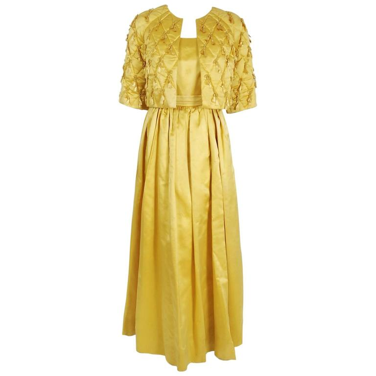 Jane Derby Golden Yellow Satin Evening Gown and Quilted Tassel ...