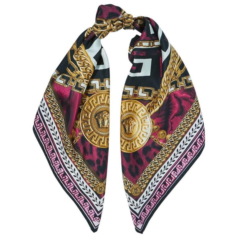 dbf8dfc48d1 Versace NEW Purple Gold Black Multi Color Medusa Head Chain Silk Scarf in  Box For Sale