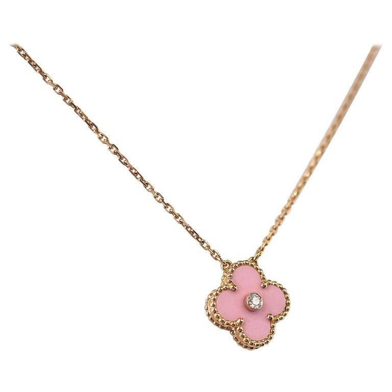 Van Cleef & Arpels Necklace 2015 Holiday Pink Alhambra Diamond Ltd Ed Rose Gold 1