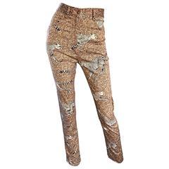Rare 1990s Kenzo Jungle Cheetah Leopard Print High Waisted Slim Fit Pants Sz 38