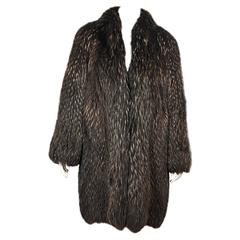 Brown Vintage Silver Fox Fur Coat