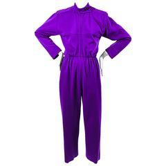 Vintage Saint Laurent Purple Wool Long Sleeve Stand Collar Jumpsuit Size 34