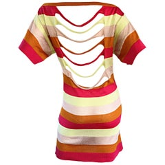Amazing Missoni Sz 8 1990s Vintage Cut Out Back Metallic Striped 90s Knit Dress
