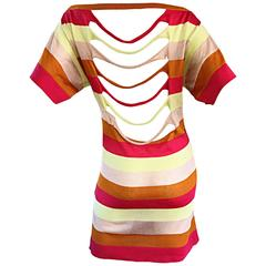 Amazing Missoni 1990s Vintage Cut - Out Back Metallic Striped 90s Knit Dress