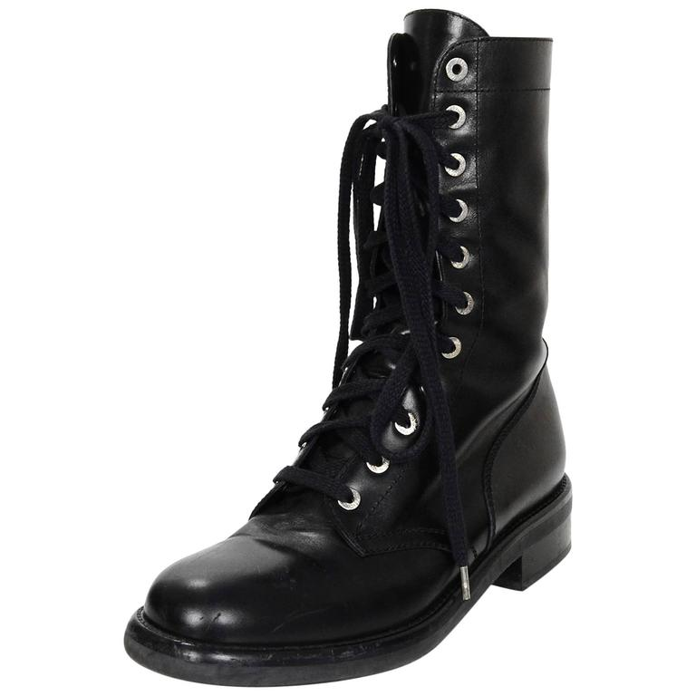 Chanel Black Leather Lace Up Combat Boots Sz 40 For Sale