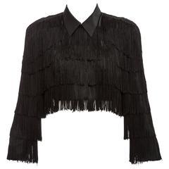 Norma Kamali OMO Black Fringe Cropped Jacket, Circa 1980's
