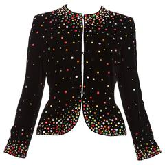 Bill Blass Black Silk Velvet Jacket Prong Set Crystals, Autumn - Winter 1979