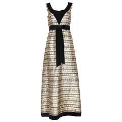 1970's Jean Varon Gold & Black Brocade Evening Gown w/Velvet Trim