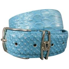 VERSACE COLLECTION Size 40 Turquoise Alligator Embossed Leather Silver V Belt