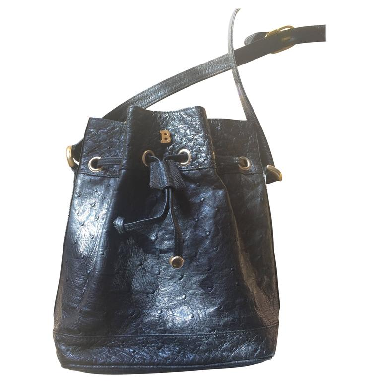 Vintage BALLY genuine black ostrich leather hobo bucket shoulder bag.