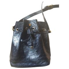 Vintage BALLY genuine black ostrich leather hobo bucket shoulder bag.