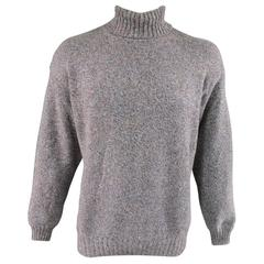 Men's LORO PIANA Size XL Blue & Brown Heather Blend Cashmere Turtleneck Sweater