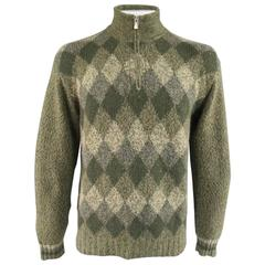 Men's LORO PIANA Size L Green Olive & Beige Argyle Cashmere Half Zip Sweater