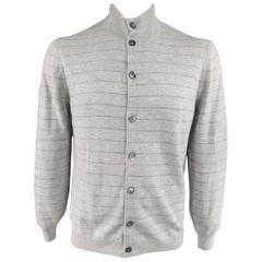 Men's BRUNELLO CUCINELLI XL Light Grey & Green Striped Cashmere Cardigan