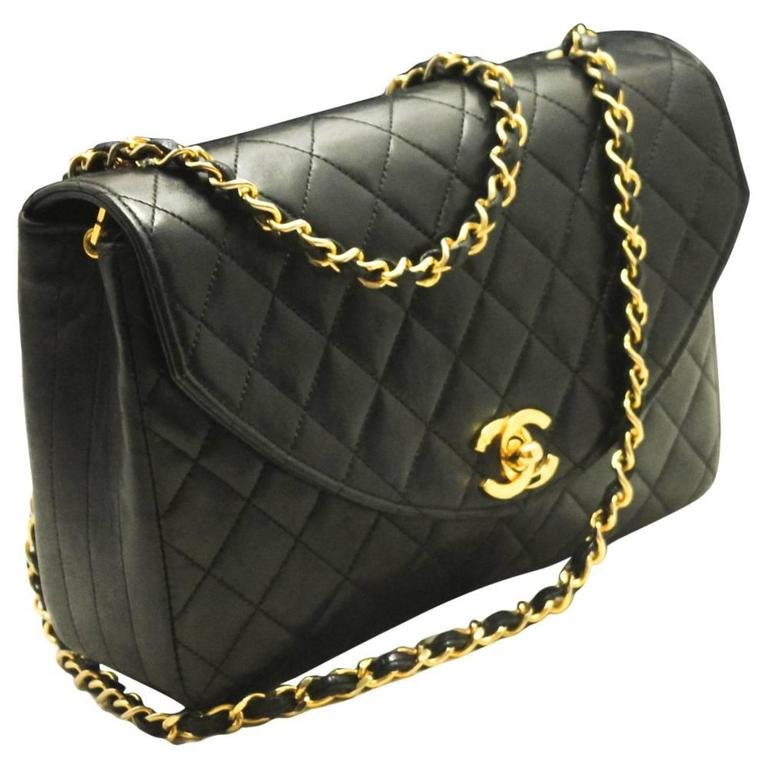 45ba552ca297 CHANEL Half Moon Chain Shoulder Bag Black Quilted Flap Lambskin For Sale