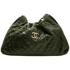 CHANEL Glazed Caviar Antique Silver Chain Shoulder Bag Hobo Black