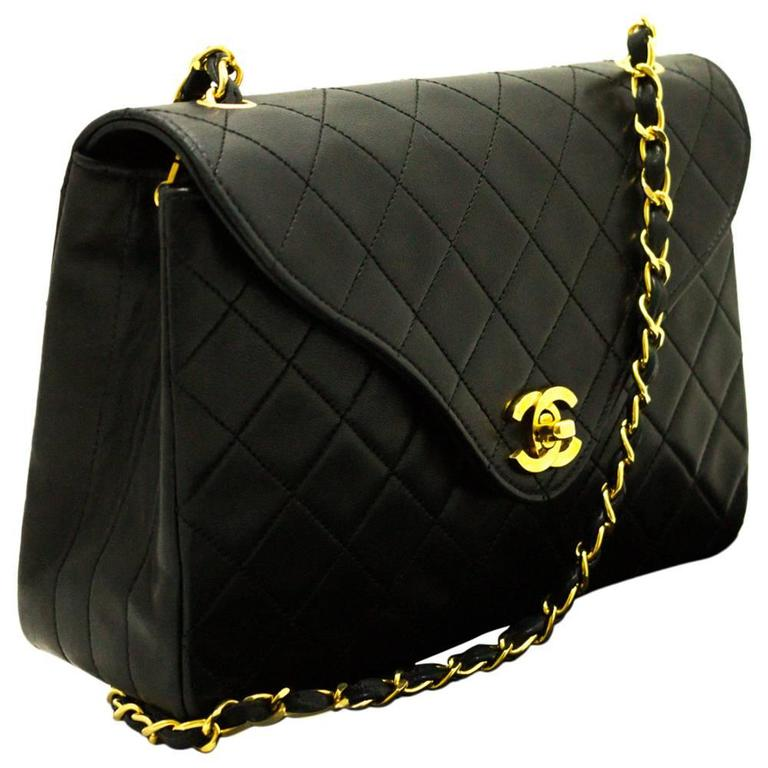 CHANEL Vintage Single Flap Chain Shoulder Bag Black Quilted Lamb ... : chanel bags quilted - Adamdwight.com