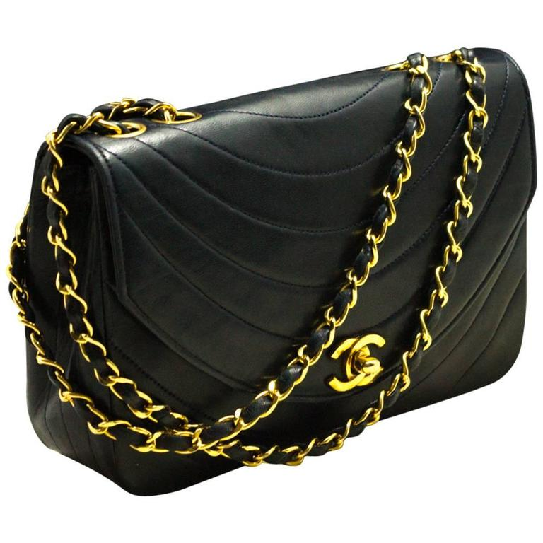 d0b94b71fe4b CHANEL Vintage Navy Half Moon Chain Shoulder Bag Quilted Flap Lamb For Sale