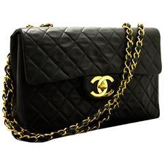"CHANEL 13"" Maxi XL Jumbo Black 2.55 Flap Chain Shoulder Bag Lamb"