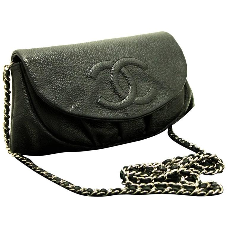 CHANEL Caviar Half Moon WOC Wallet On Chain Clutch Shoulder Bag  For Sale