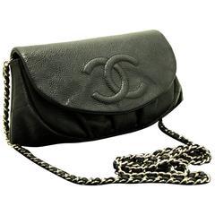 CHANEL Caviar Half Moon WOC Wallet On Chain Clutch Shoulder Bag