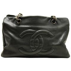 CHANEL Soft Caviar Chain Shoulder Bag Black Leather Antique Silver
