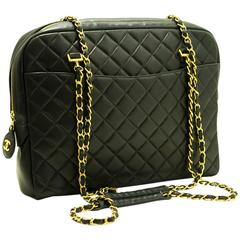 CHANEL Large Chain Shoulder Bag Leather Black Quilted Lambskin