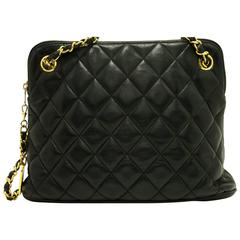 CHANEL Chain Shoulder Bag Black Quilted Zippered Lambskin Leather