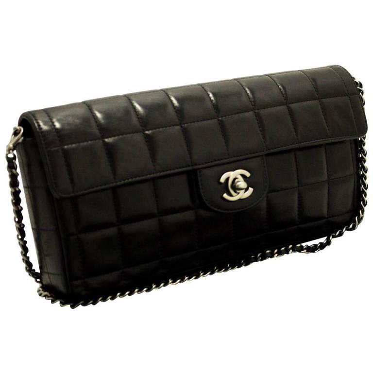 CHANEL Chocolate Bar Silver Chain Shoulder Bag Clutch Black Purse ...