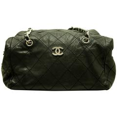 CHANEL Caviar 2 Way Boston Chain Shoulder Bag Black Silver Quilted
