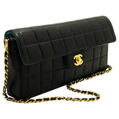 CHANEL Chocolate Bar Gold Chain Shoulder Bag Clutch Black Quilted