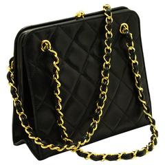 CHANEL Small Chain Handbag Party Bag Leather Black Quilted Lamb