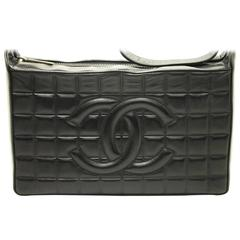 CHANEL Chocolate Bar One Shoulder Bag Black Leather Sac Camera