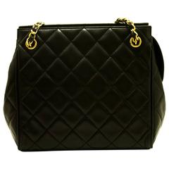 CHANEL Double Chain Shoulder Bag Black Quilted Lambskin Leather