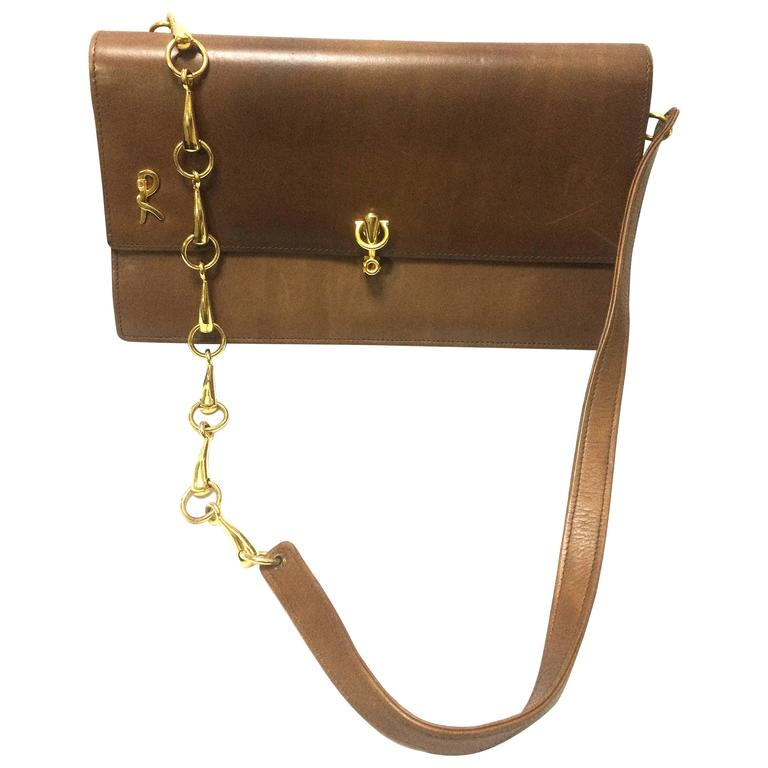 Vintage Roberta di Camerino brown leather chain shoulder bag with golden R logo