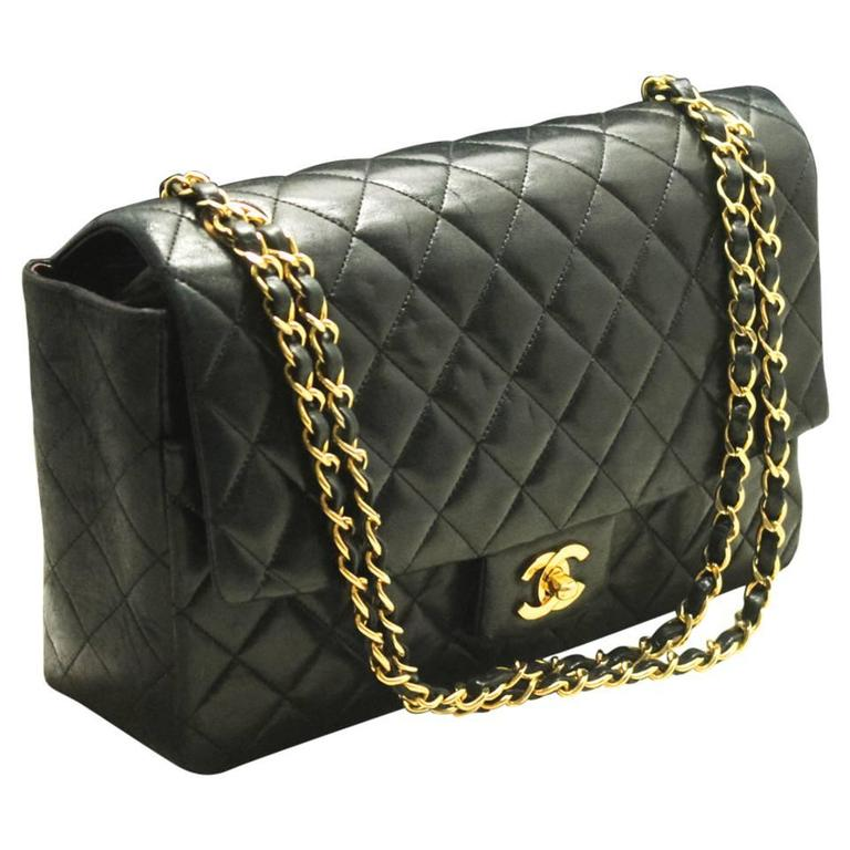 CHANEL Single Flap Chain Shoulder Bag Black Quilted Lambskin For ...
