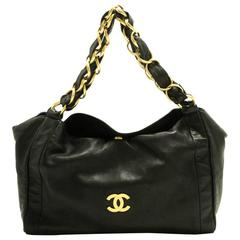 CHANEL Gold Chain Shoulder Bag Black Lambskin Leather Purse