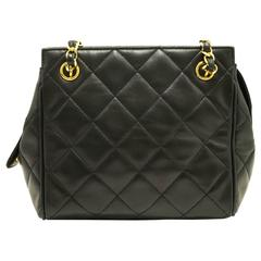 CHANEL Small Double Chain Shoulder Bag Black Quilted Lambskin