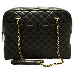 CHANEL Large Chain Shoulder Bag Black Quilted Lambskin Zippered
